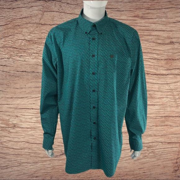 Cinch Teal Western Dress Shirt Dash & Dot Design